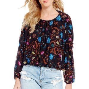 Free People Longsleeve floral shirt ruffle